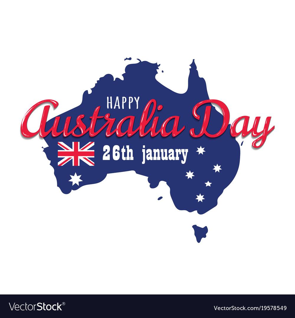 Happy australia day 26 january festive with flag