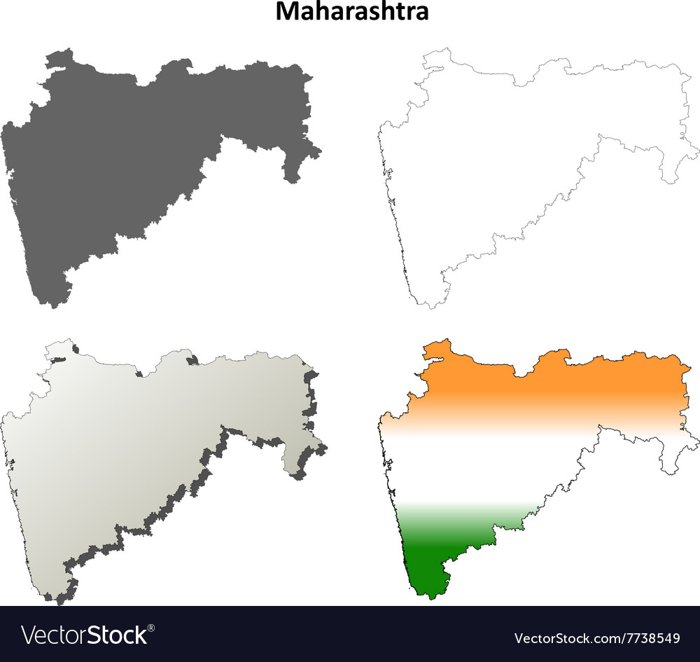 Maharashtra blank detailed outline map set