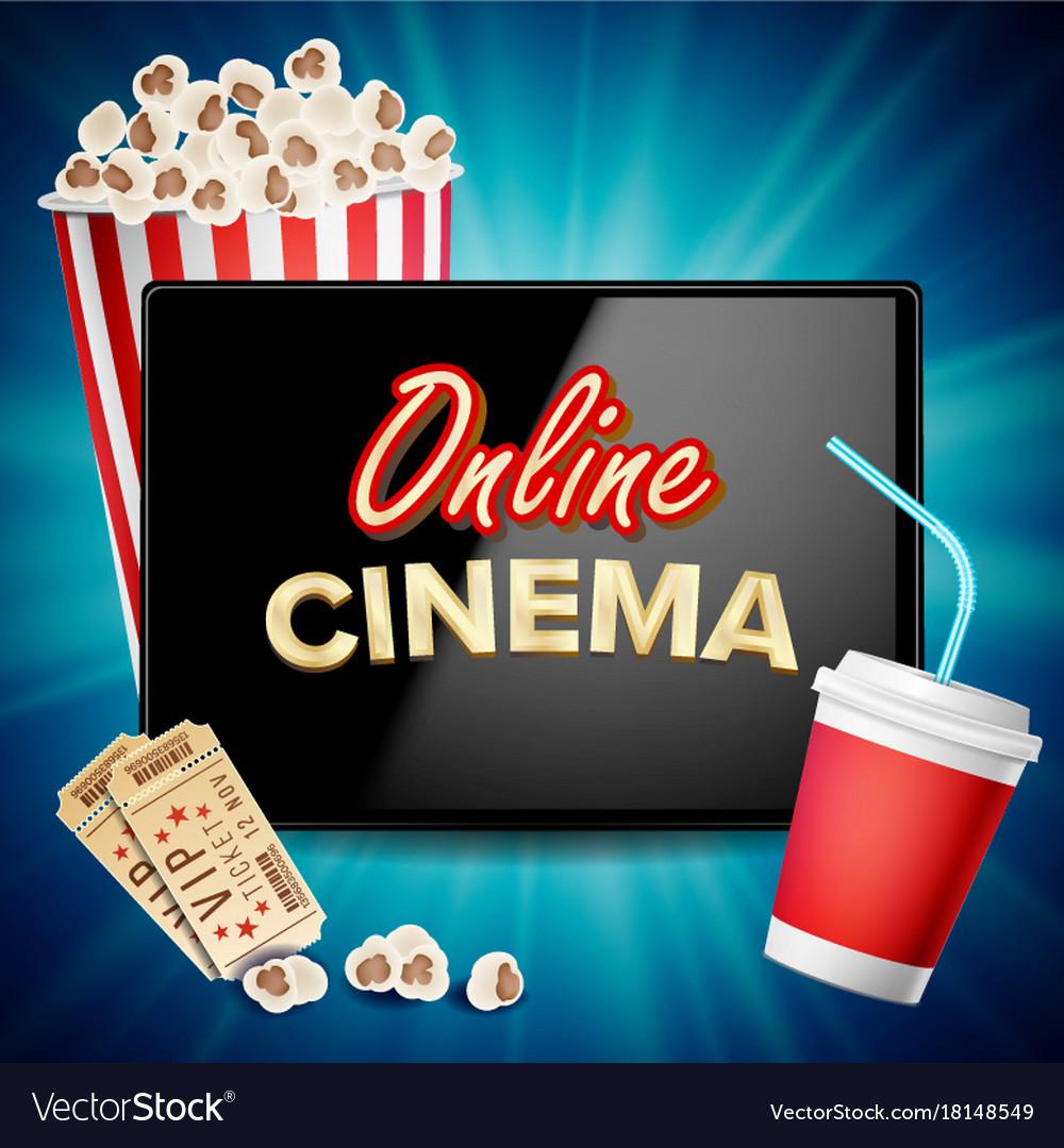 Online cinema banner realistic tablet