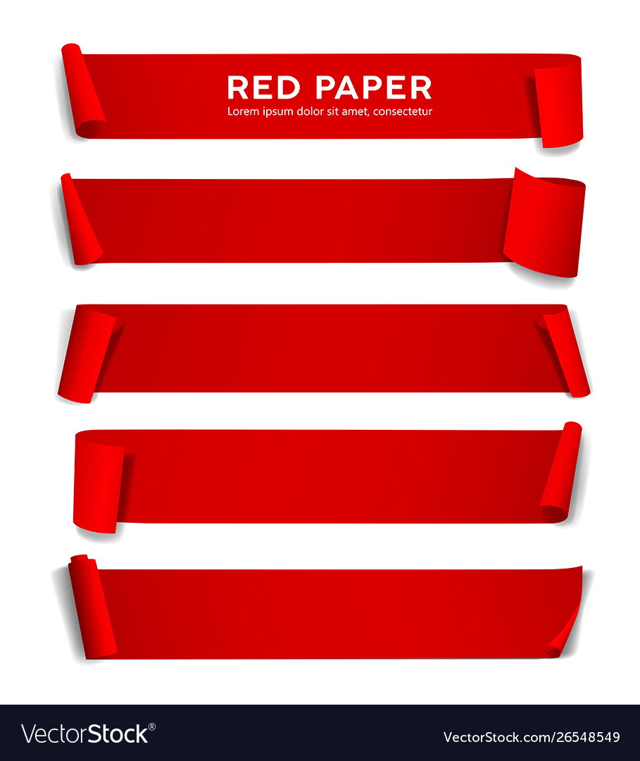 Red paper roll long size collection isolat