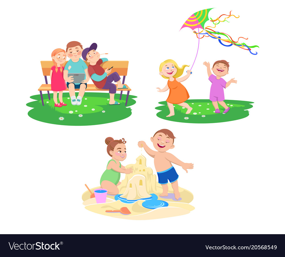 Set Of Children Who Rest On A Summer Vacation Vector Image
