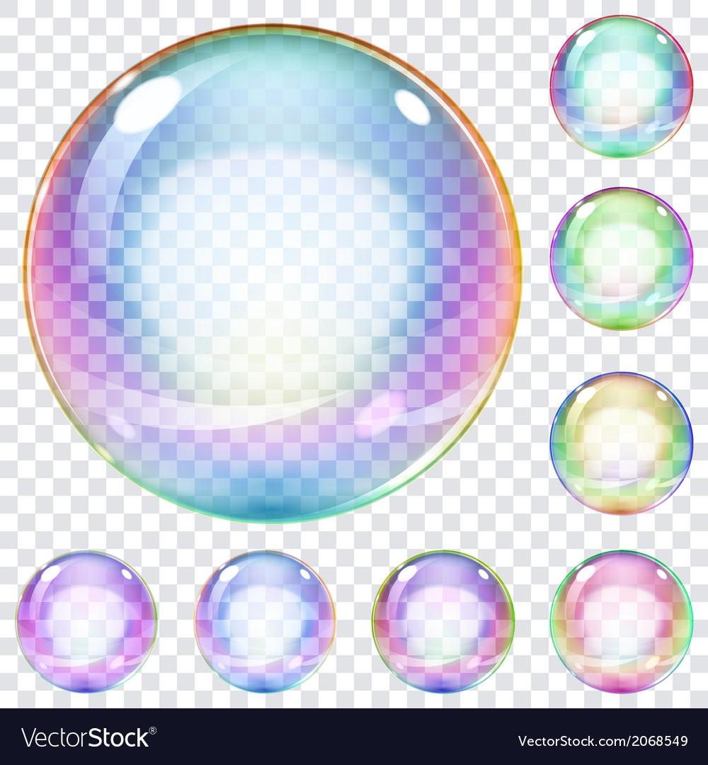 set of multicolored soap bubbles royalty free vector image vectorstock