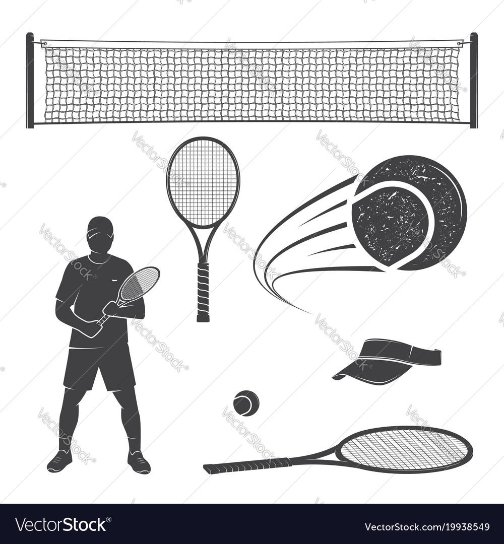 Set of tennis equipment silhouettes