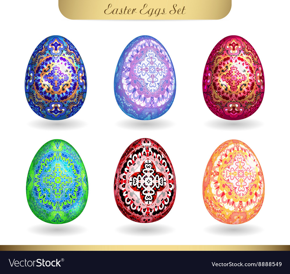 Set realistic eggs on white background easter