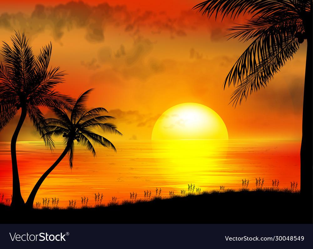 Tropical sunrise on sea and sea boat