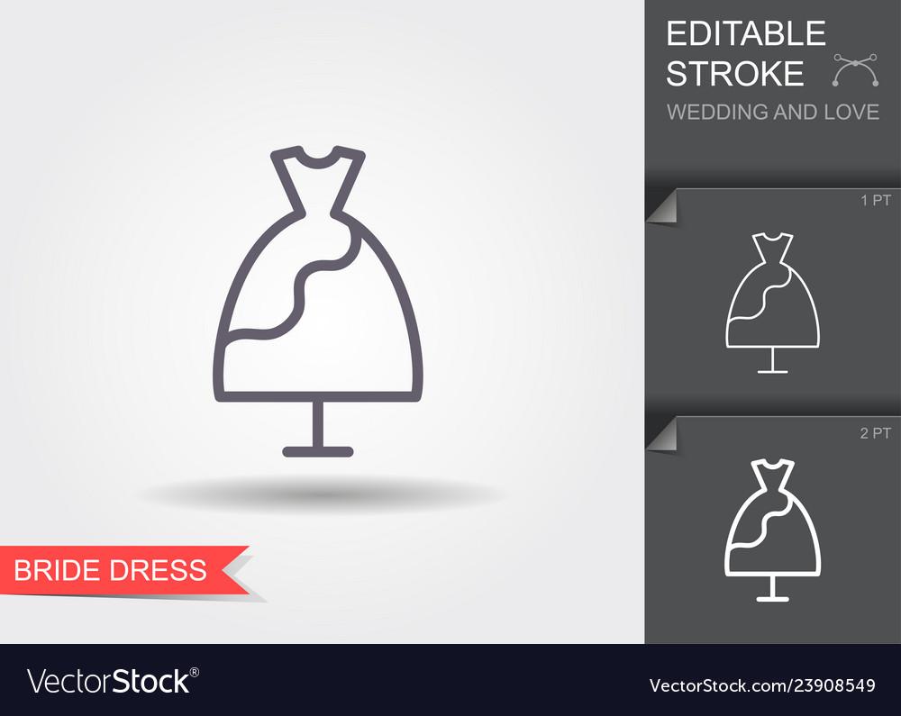 Wedding dress line icon with shadow and editable