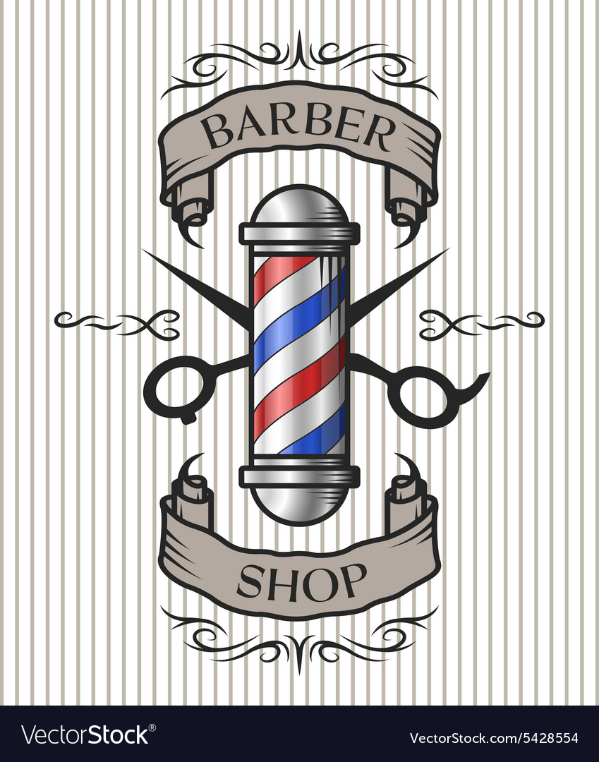 Barber shop emblem vector image