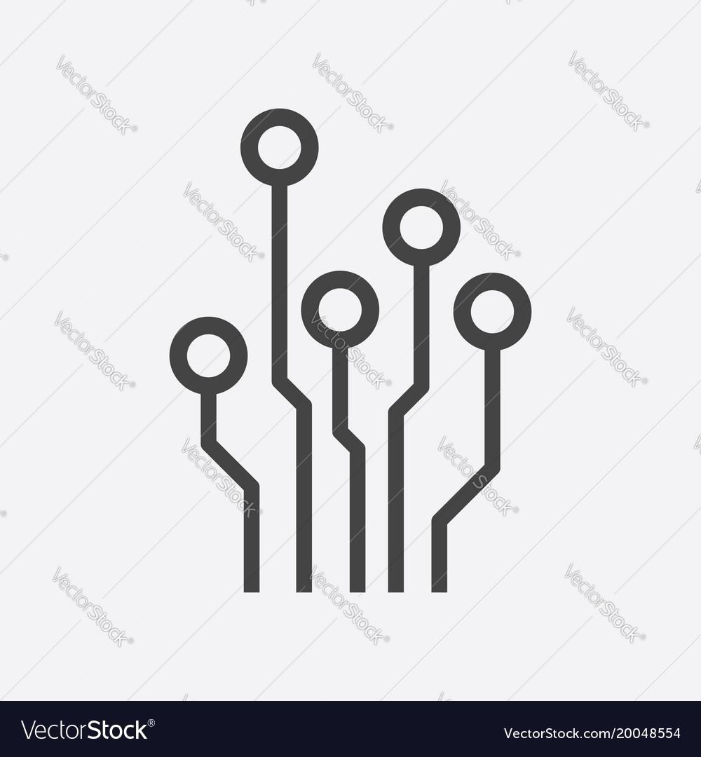 Circuit board icon technology scheme symbol flat Vector Image
