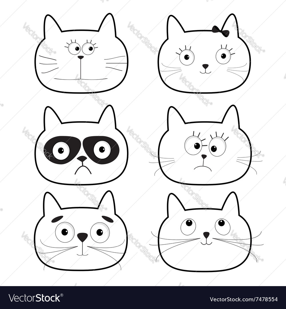 Cute black contour cat head set Funny cartoon