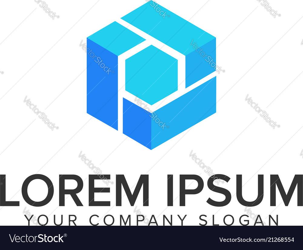Hexagon box logo design concept template
