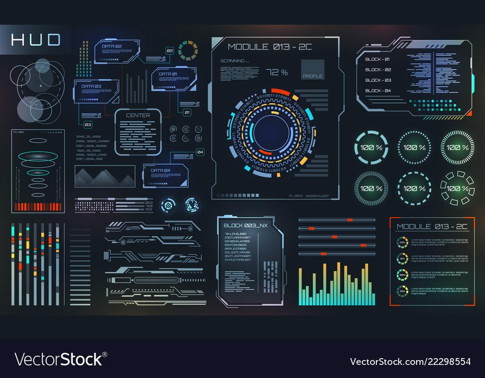 Hud and ui set elements sci fi futuristic user