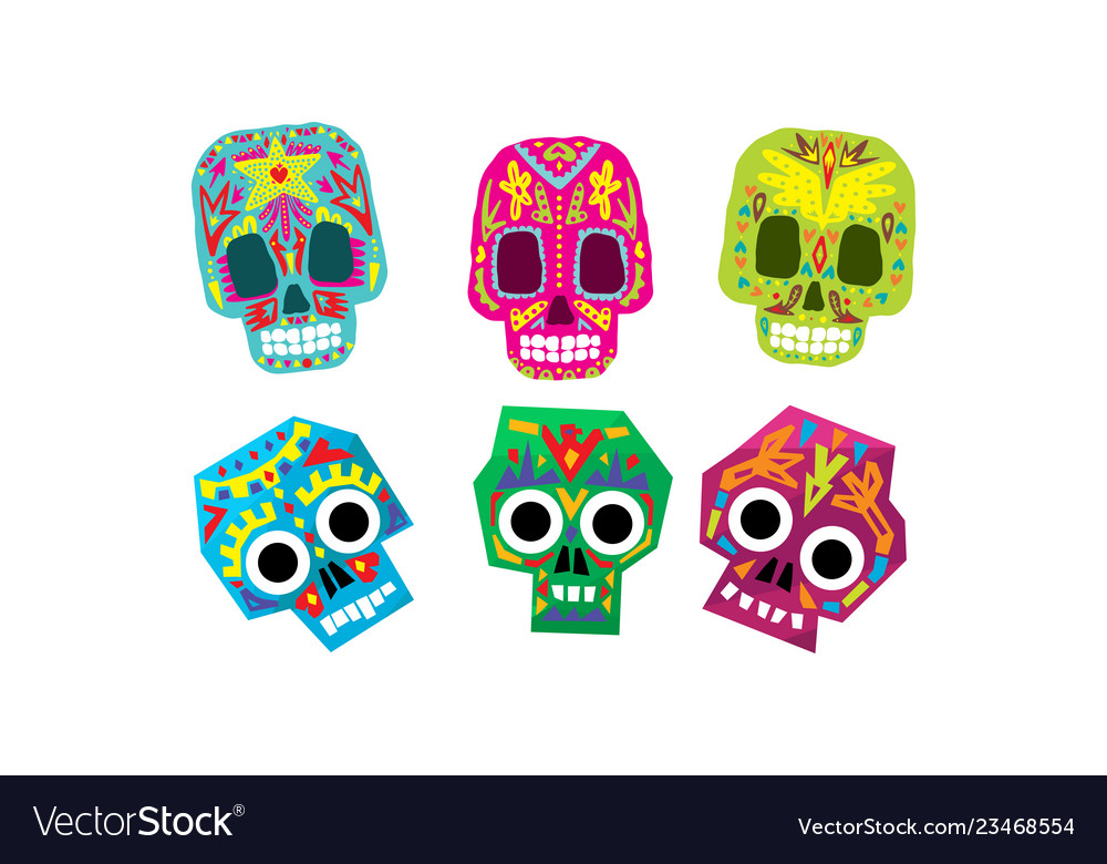 Mexican sugar skulls set day of the dead colorful