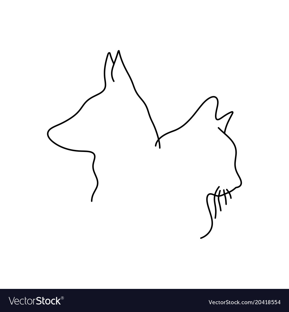 Outline Drawing Of Cat And Dog Head Minimalist Vector Image