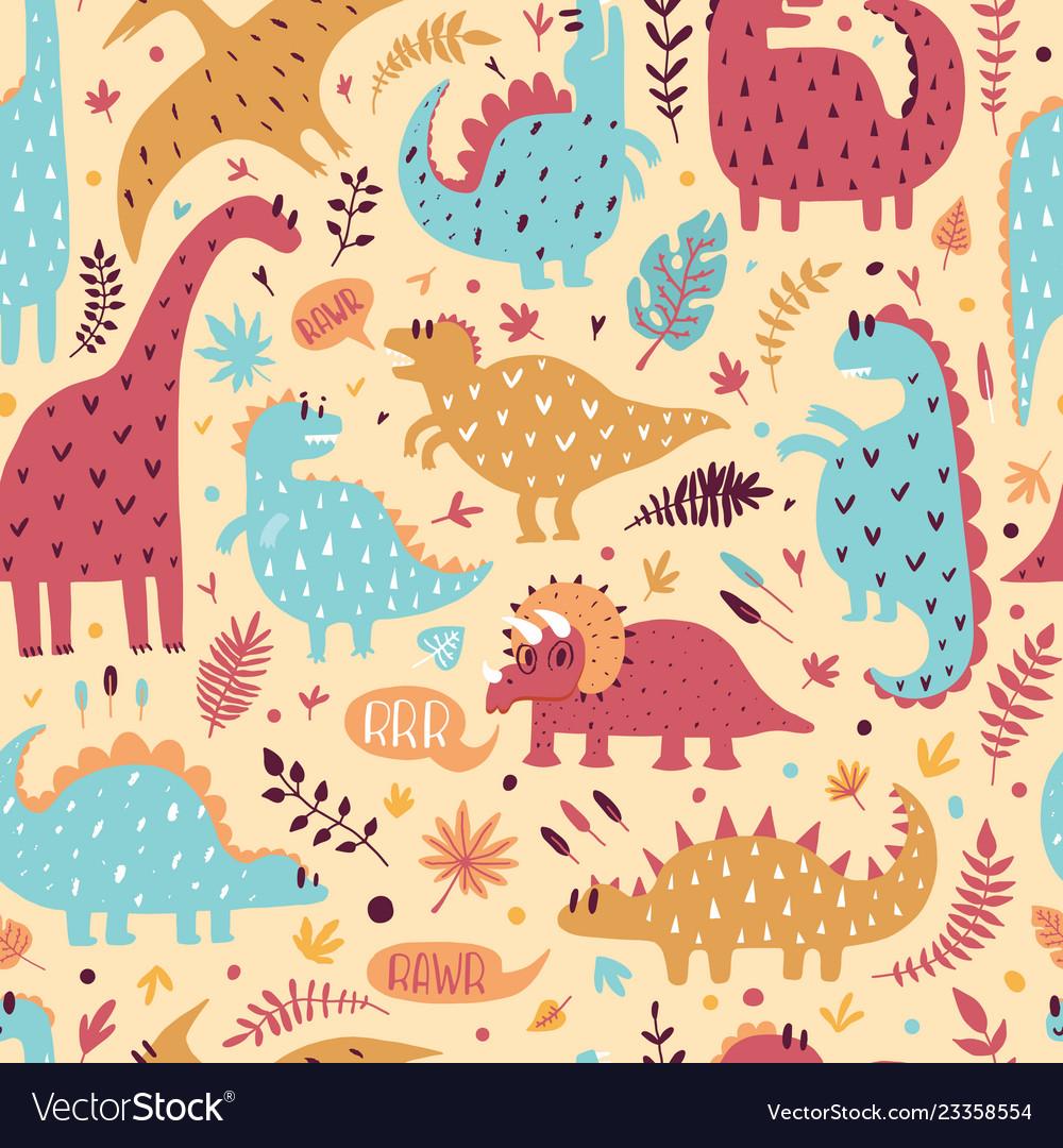 Seamless pattern of cute dinosaurs