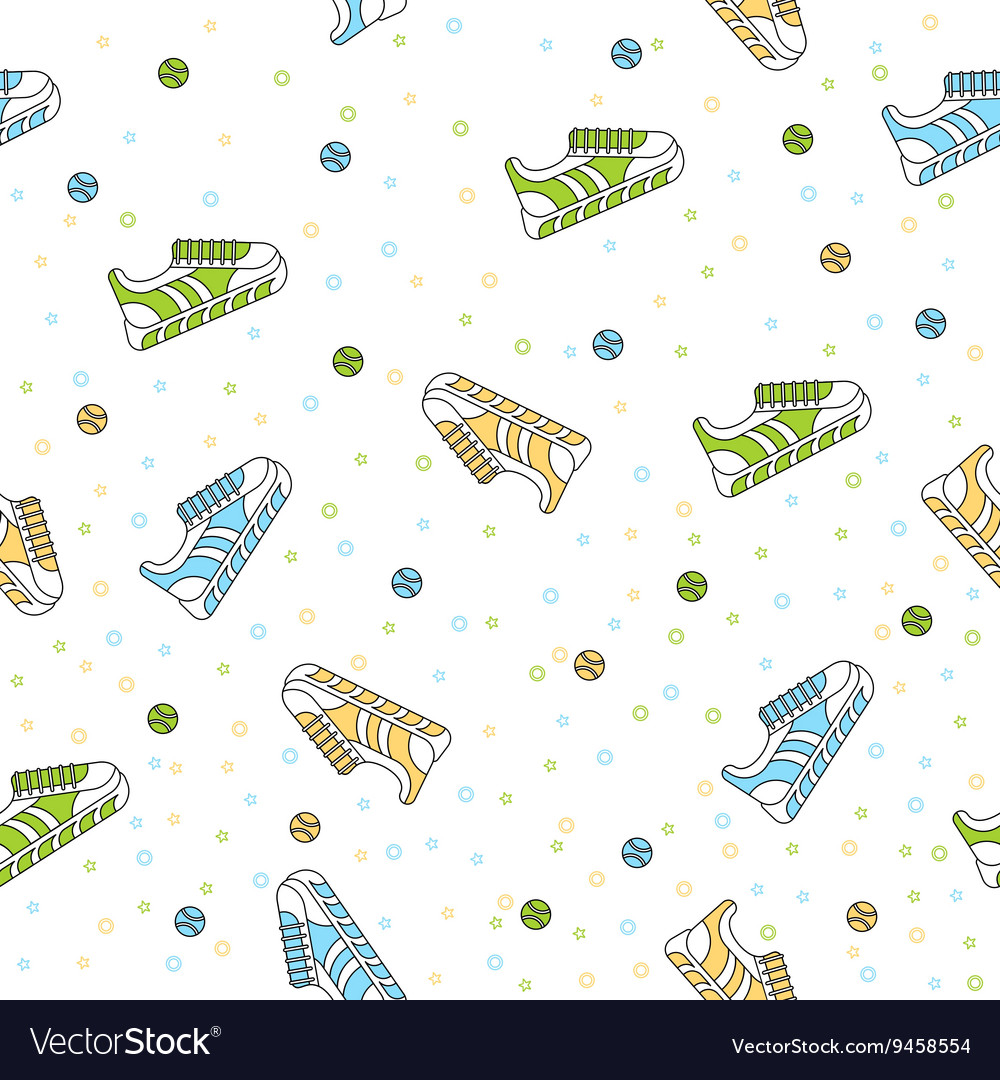Seamless pattern of sneakers