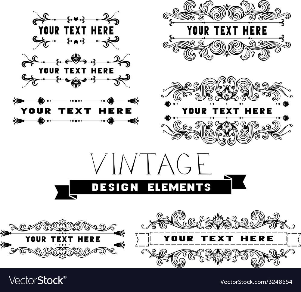 Set of vintage design elements and page