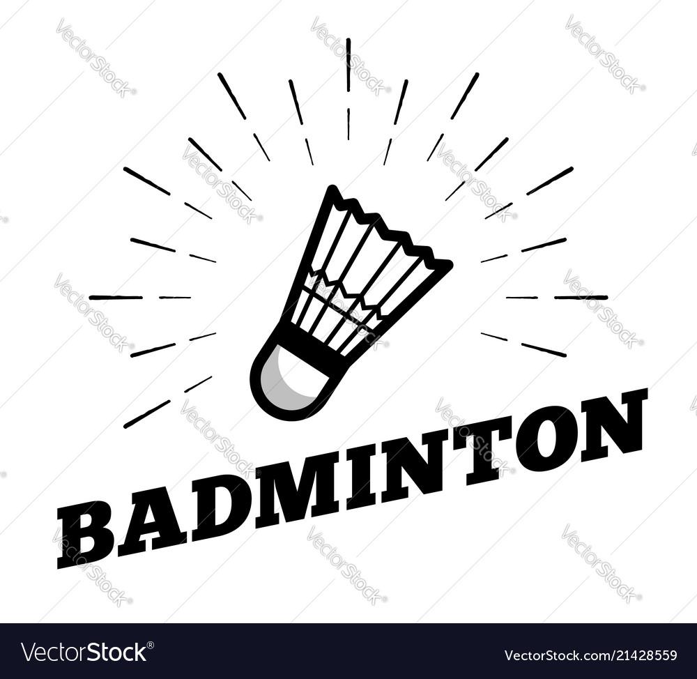 Badminton sport shuttle cock ball logo icon sun