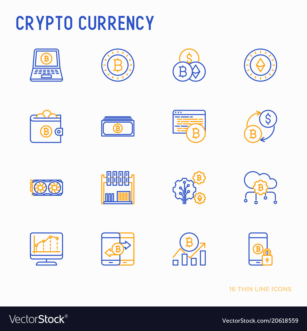 Cryptocurrency thin line icons set