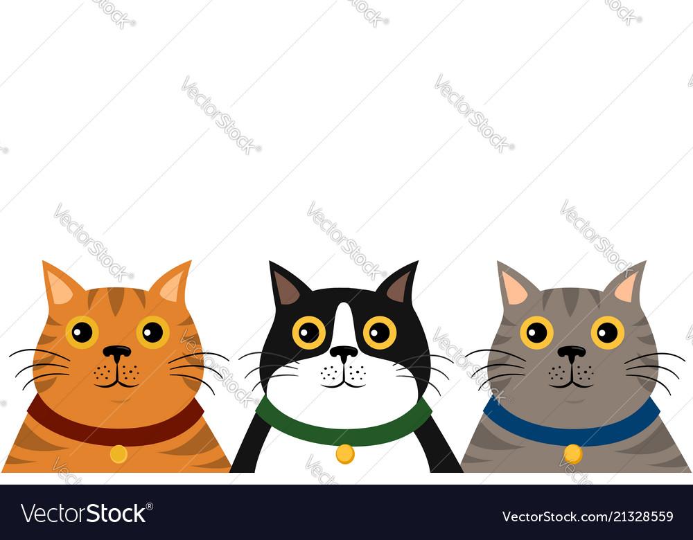 Cute flat colorful cat portrait pattern