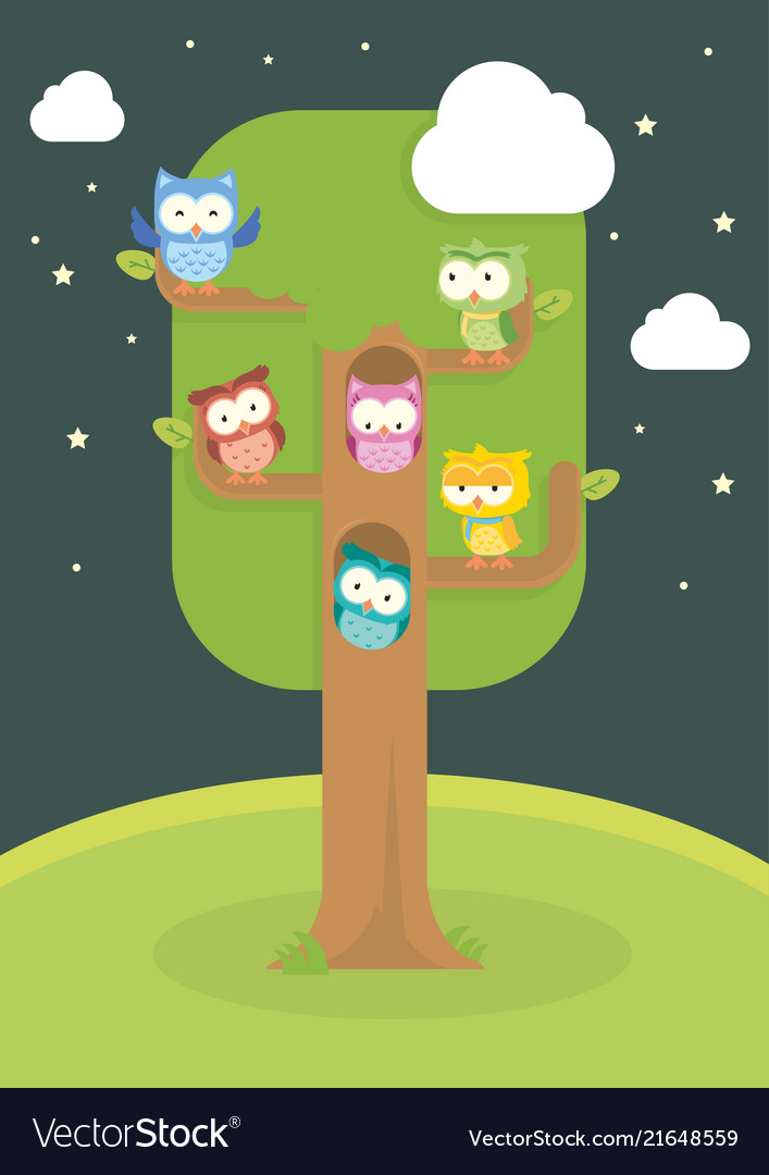 Cute owl cartoon in the tree isolated set