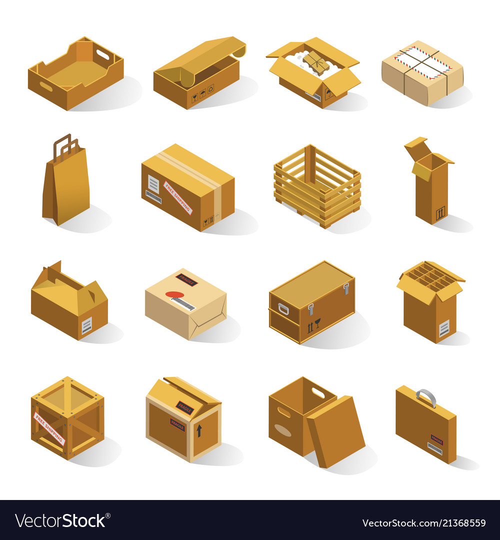 Delivery boxes isometric