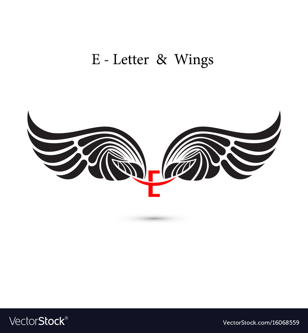 E-letter sign and angel wingsmonogram wing logo