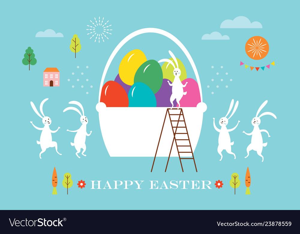 Easter scene egg hunt cute bunnies and big baske