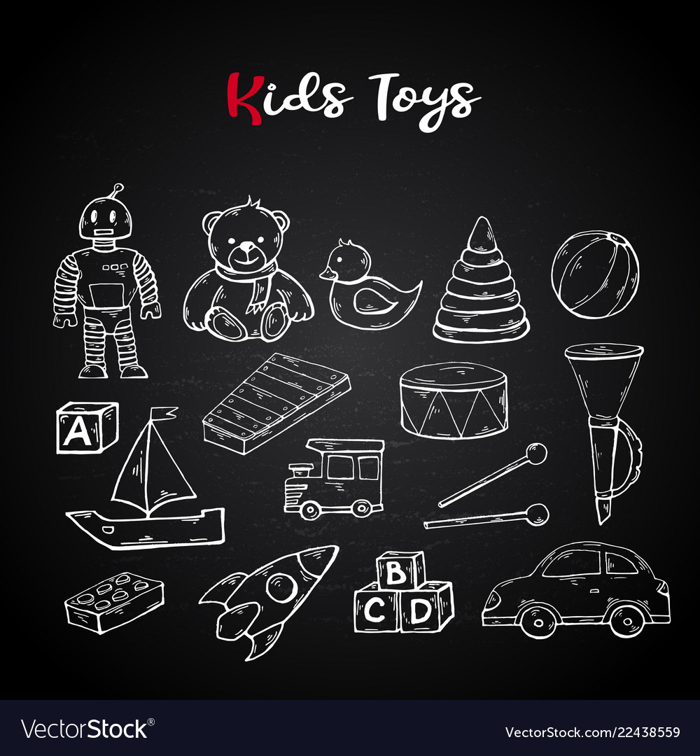 Hand draw kids toys set in doodle style