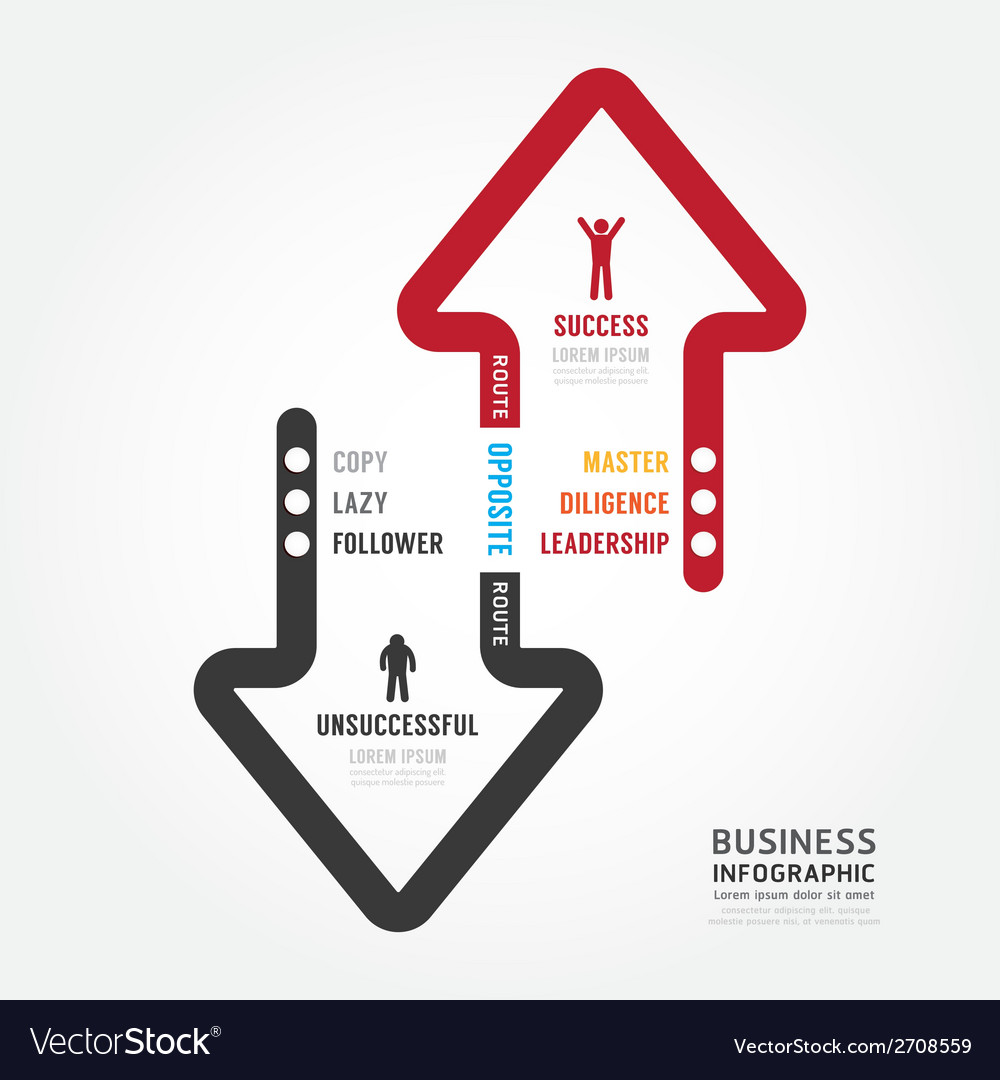 infographic bussiness route to success concept vector image