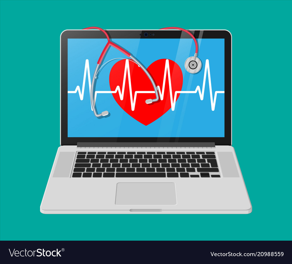 Laptop heart shape with pulse line stethoscope