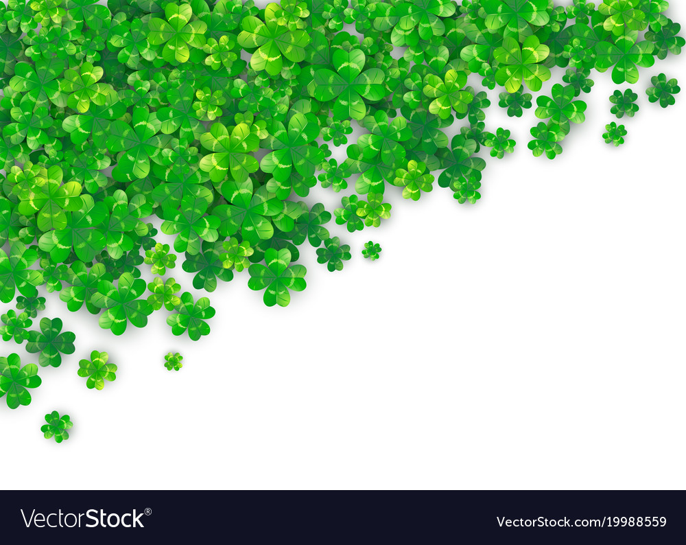 Patricks day background with four green clover vector image