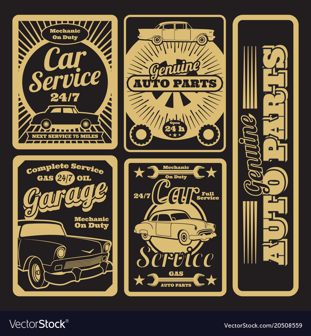 Retro car service and garage labels design vector image