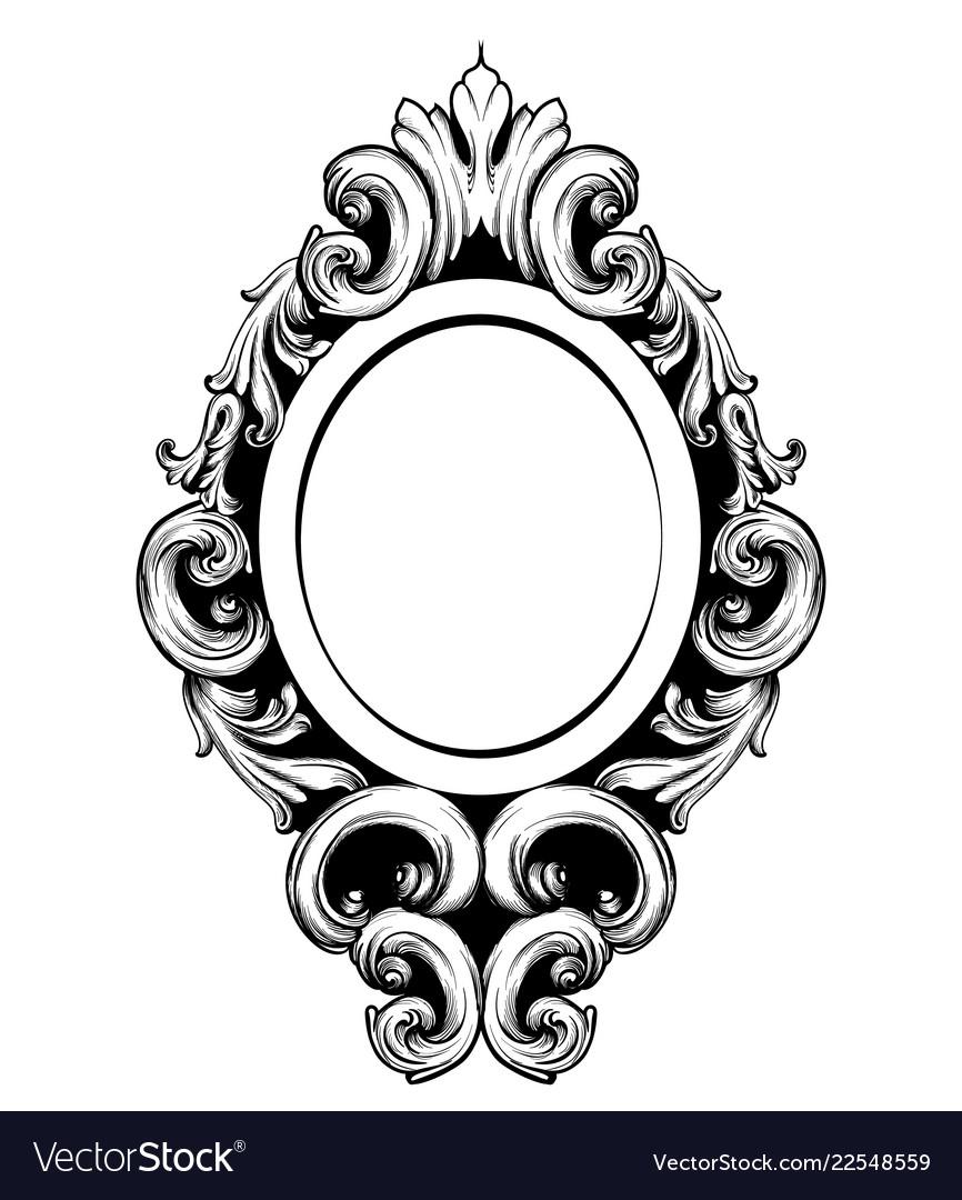 antique mirror frame round vintage mirror frame baroque rich design vector image
