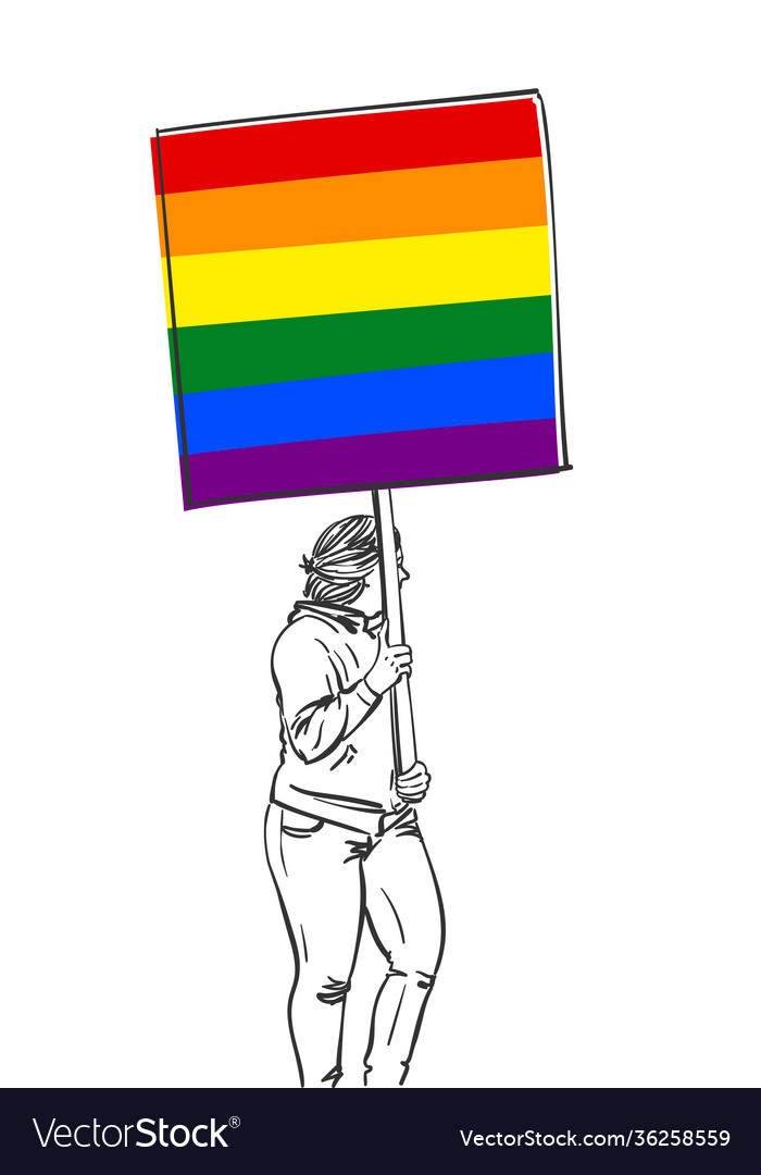 Woman walking with lgbt gay pride banner sketch