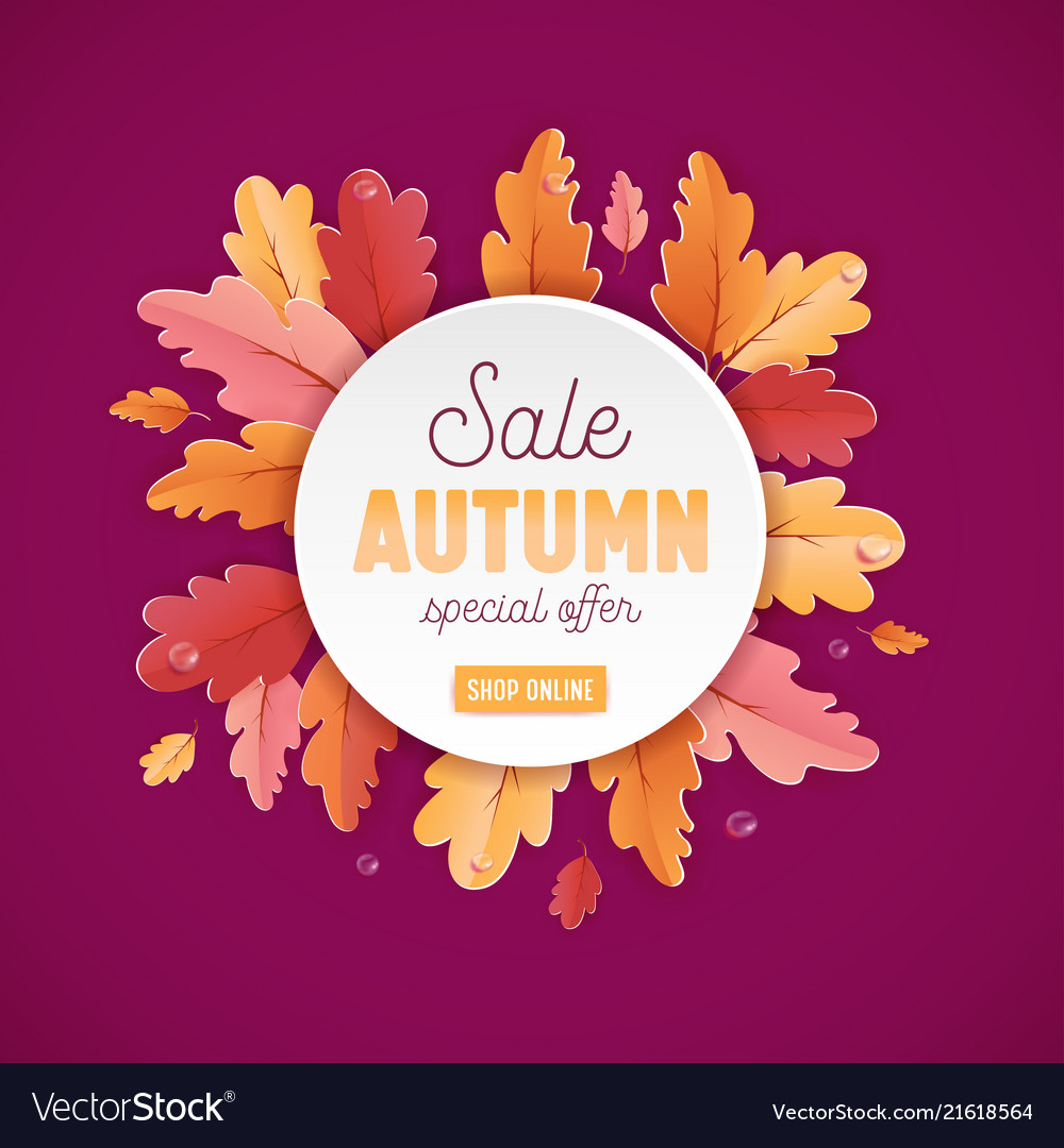 Autumn sale background template leaves web banner