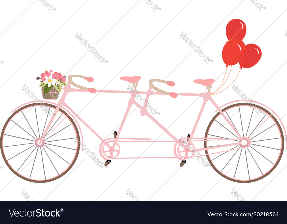 Classic romantic tandem bicycle with balloons