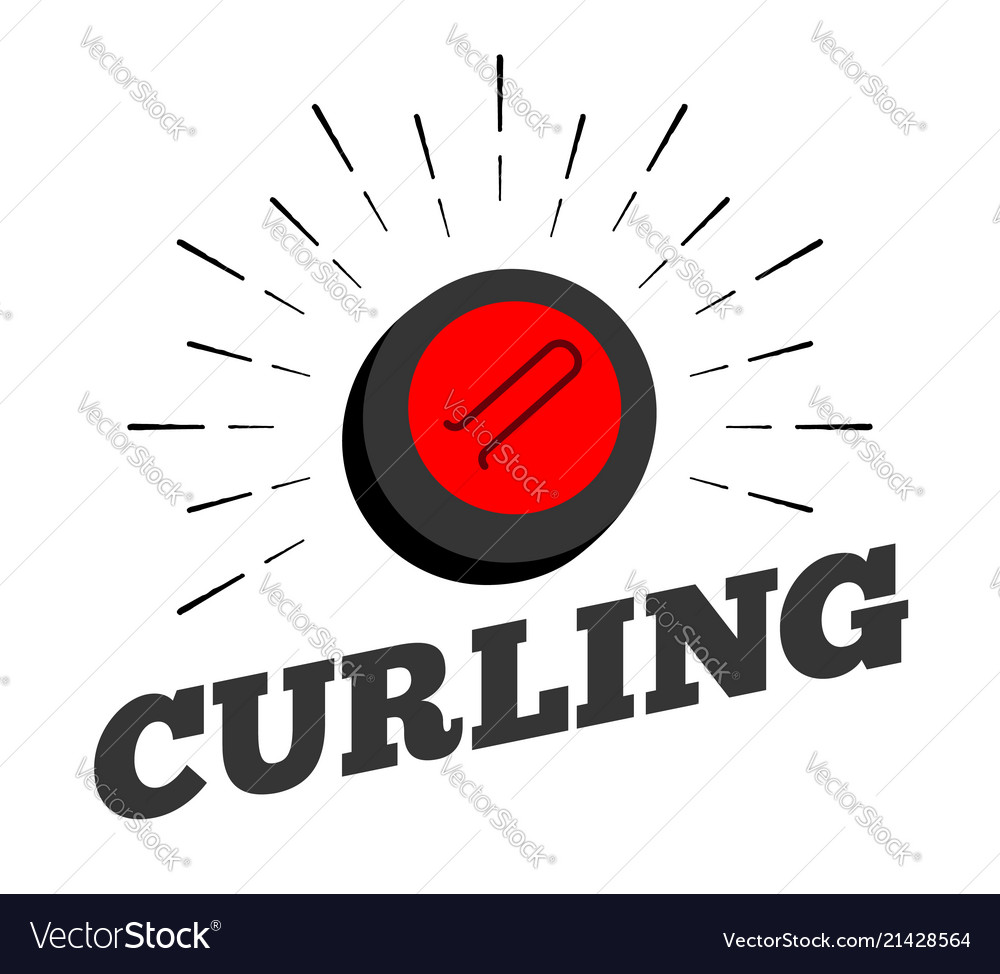 Curling sport stone ball logo icon sun burtst