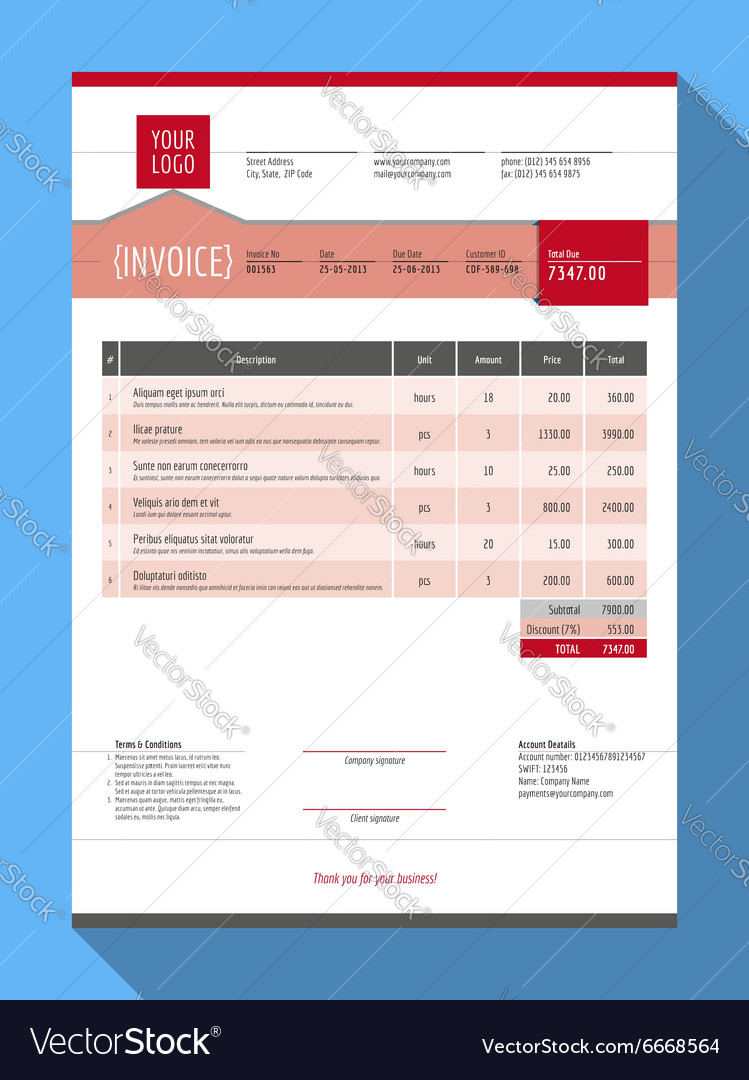 Customizable Invoice Form Template Design Red Vector Image - Customizable invoice