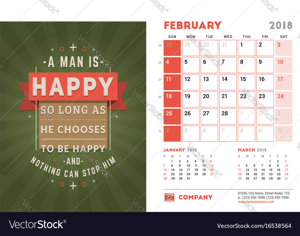 Desk Calendar Template For 2018 Year February Vector Image
