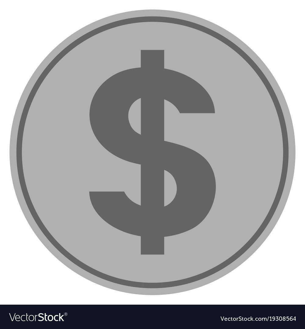 Dollar symbol silver coin vector image