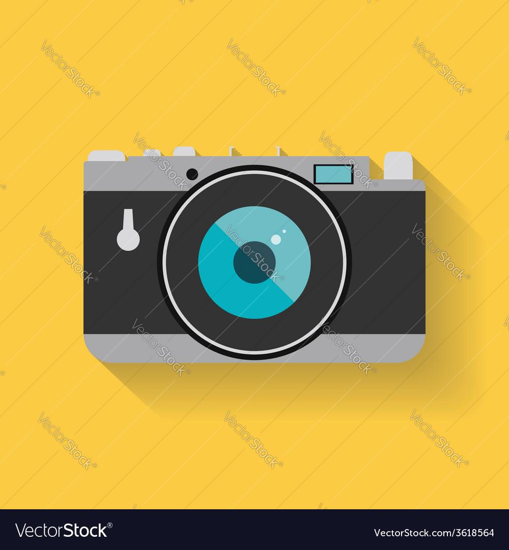 Flat retro photo camera web icon