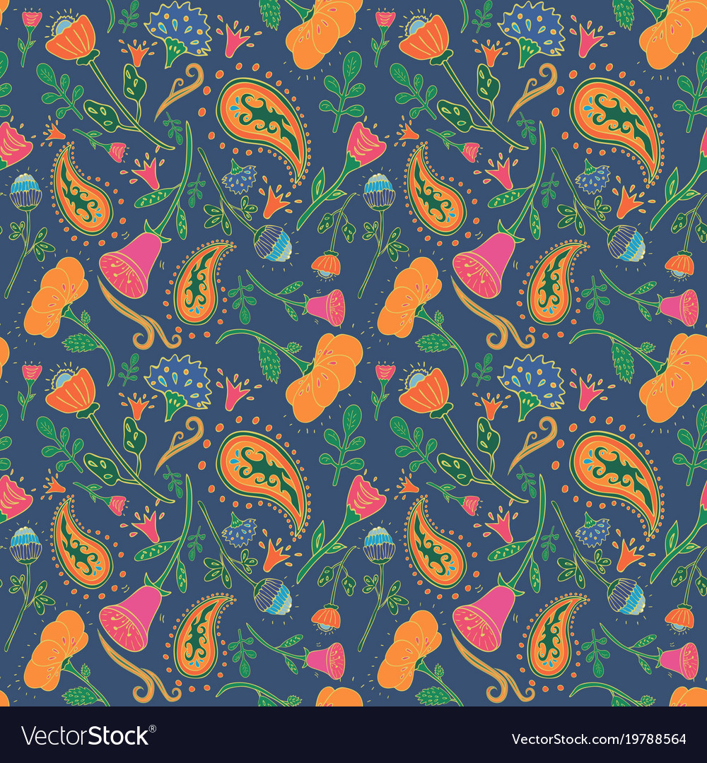 Hand drawn seamless floral pattern