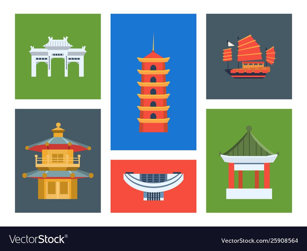 Hong kong city landmarks set chinese cultural