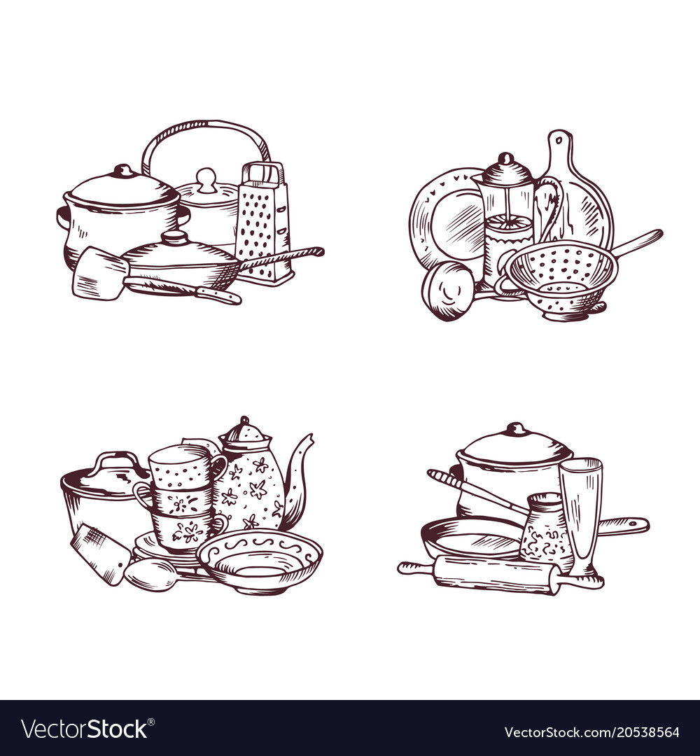 Piles of hand drawn kitchen utensils set Vector Image
