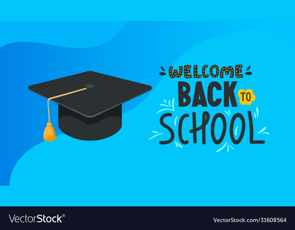 School Banner With Student Hat And Text Royalty Free Vector