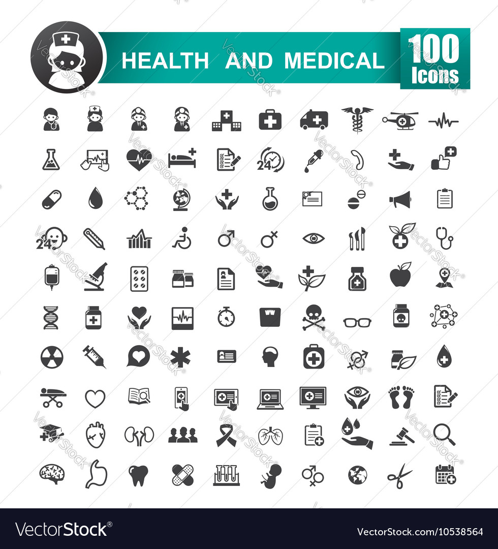 Set of 100 icon of health and medical 001