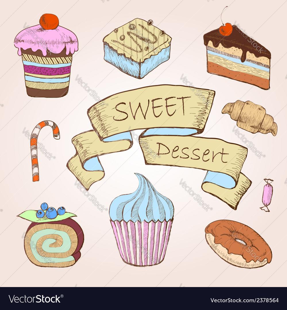 Set of cakes Decorative sketch