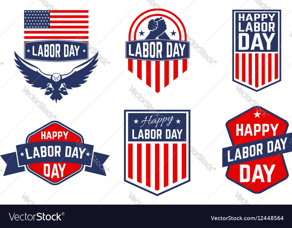 Set of Labor Day greeting card badge and