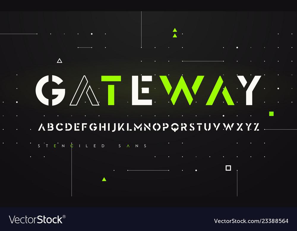 Stenciled futuristic san serif alphabet