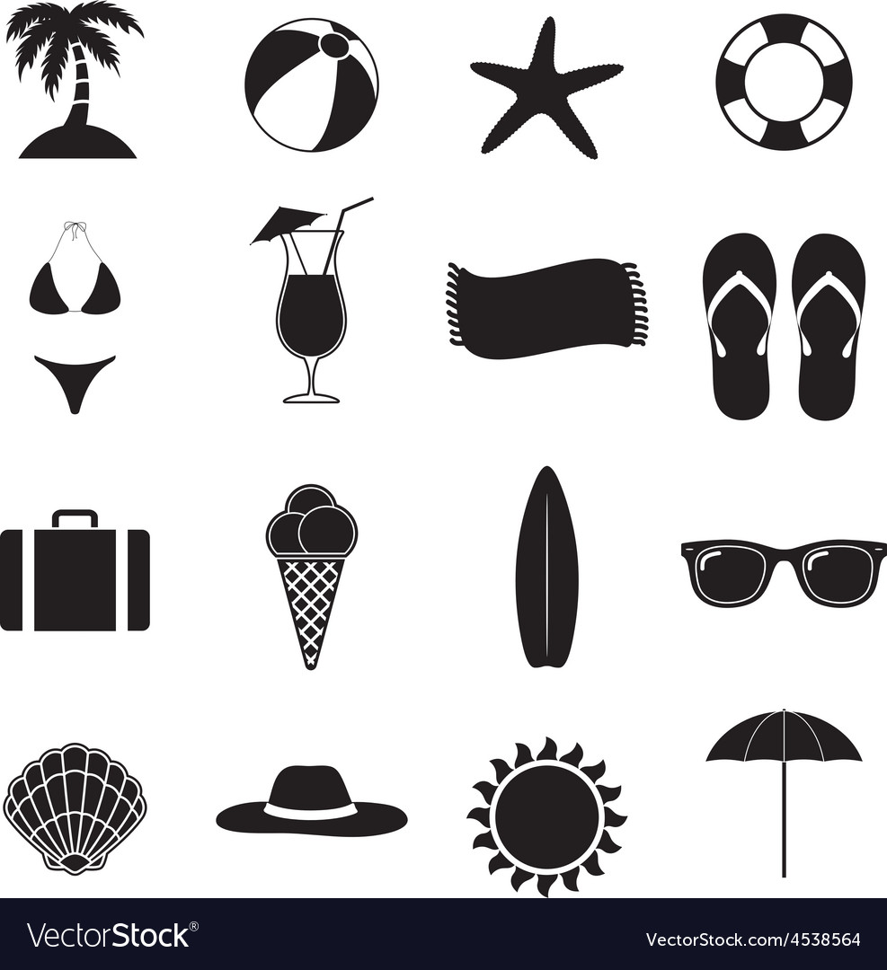 Summer Beach Black Of Silhouette Icons